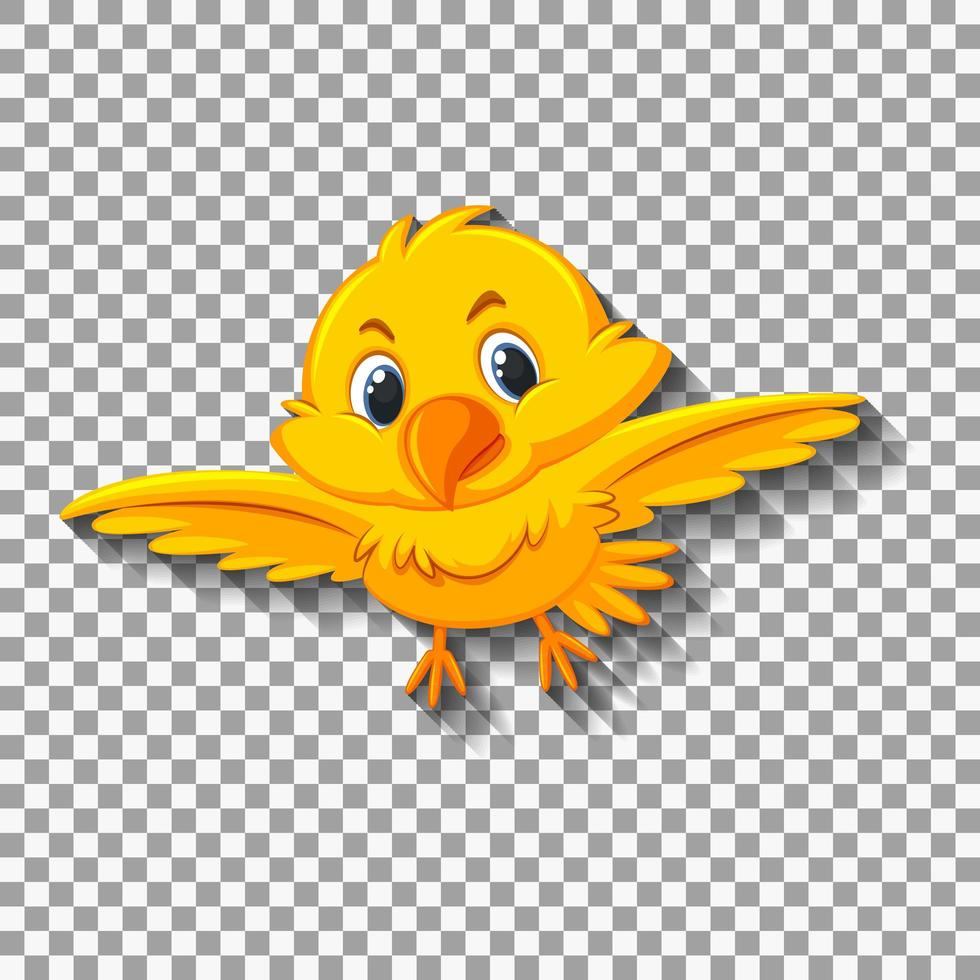 Cute yellow bird cartoon illustration vector