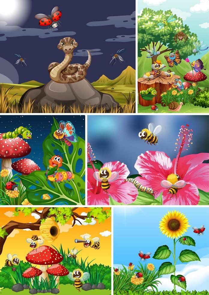 conjunto de diferentes insetos vivendo no jardim vetor