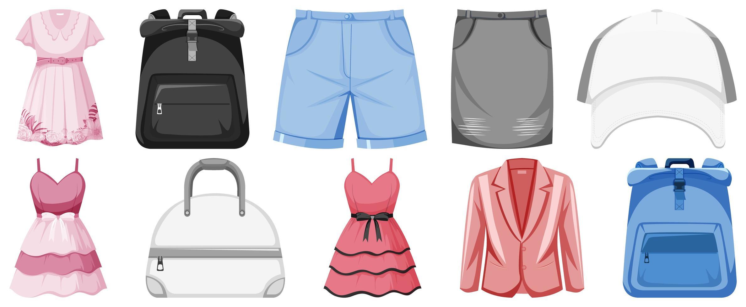conjunto de ropa maqueta vector
