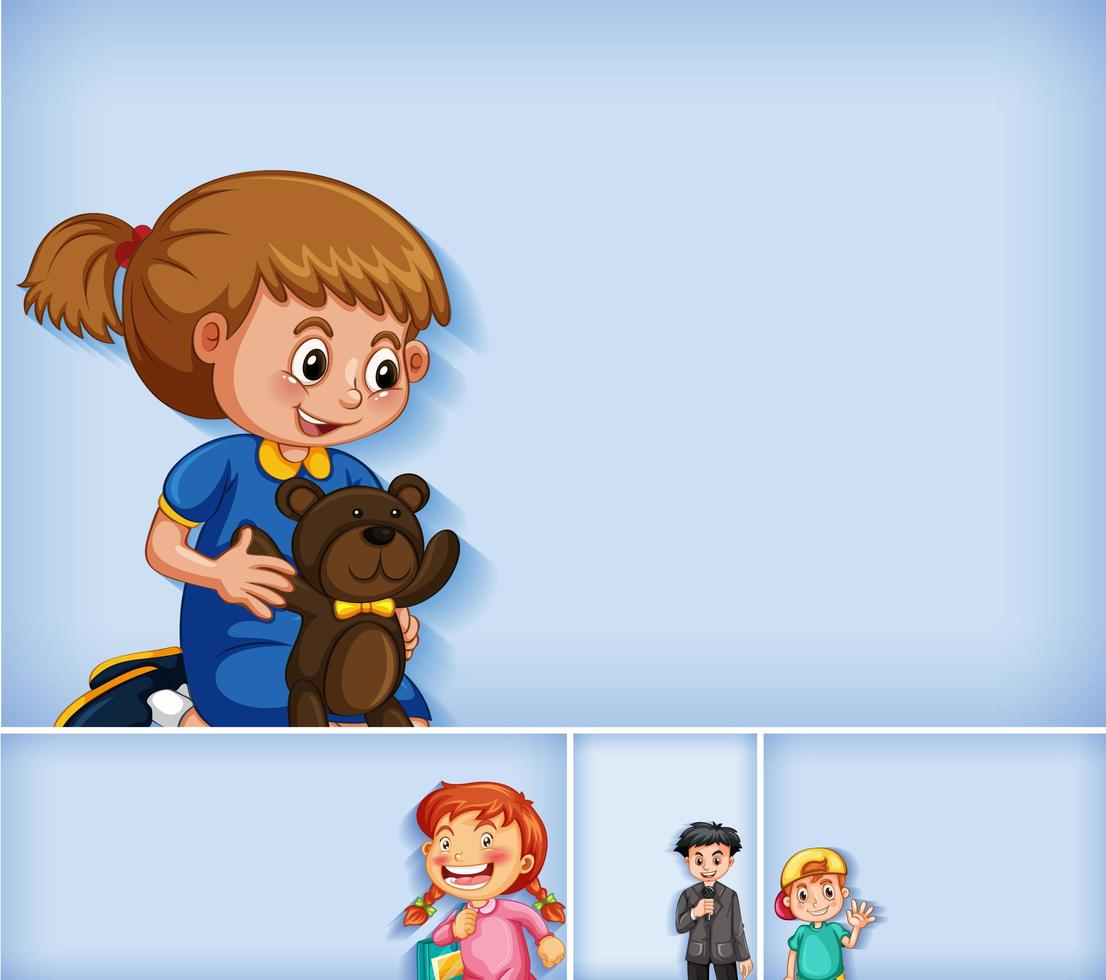 Set of different kid characters on blue background vector