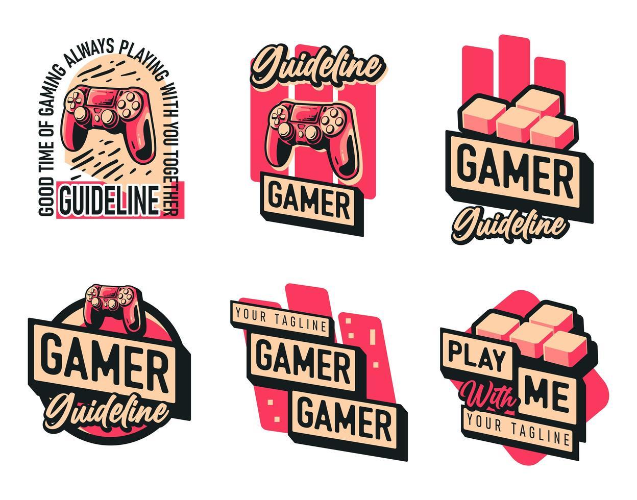 jeu de logo de manette de jeu vecteur