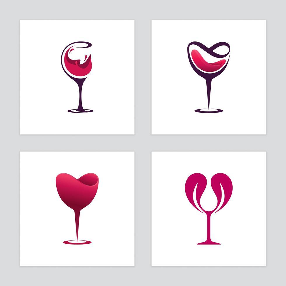 Wine glasses icon set vector