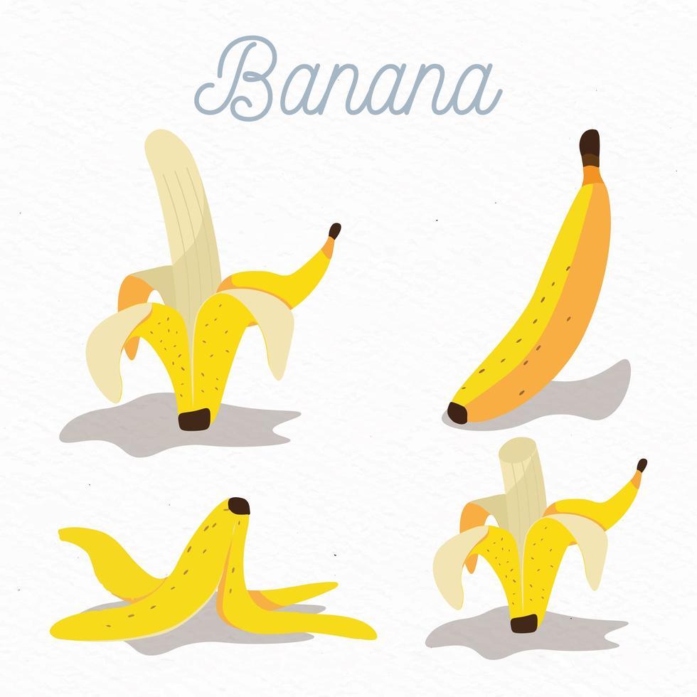 conjunto de frutas de plátano de diseño plano vector