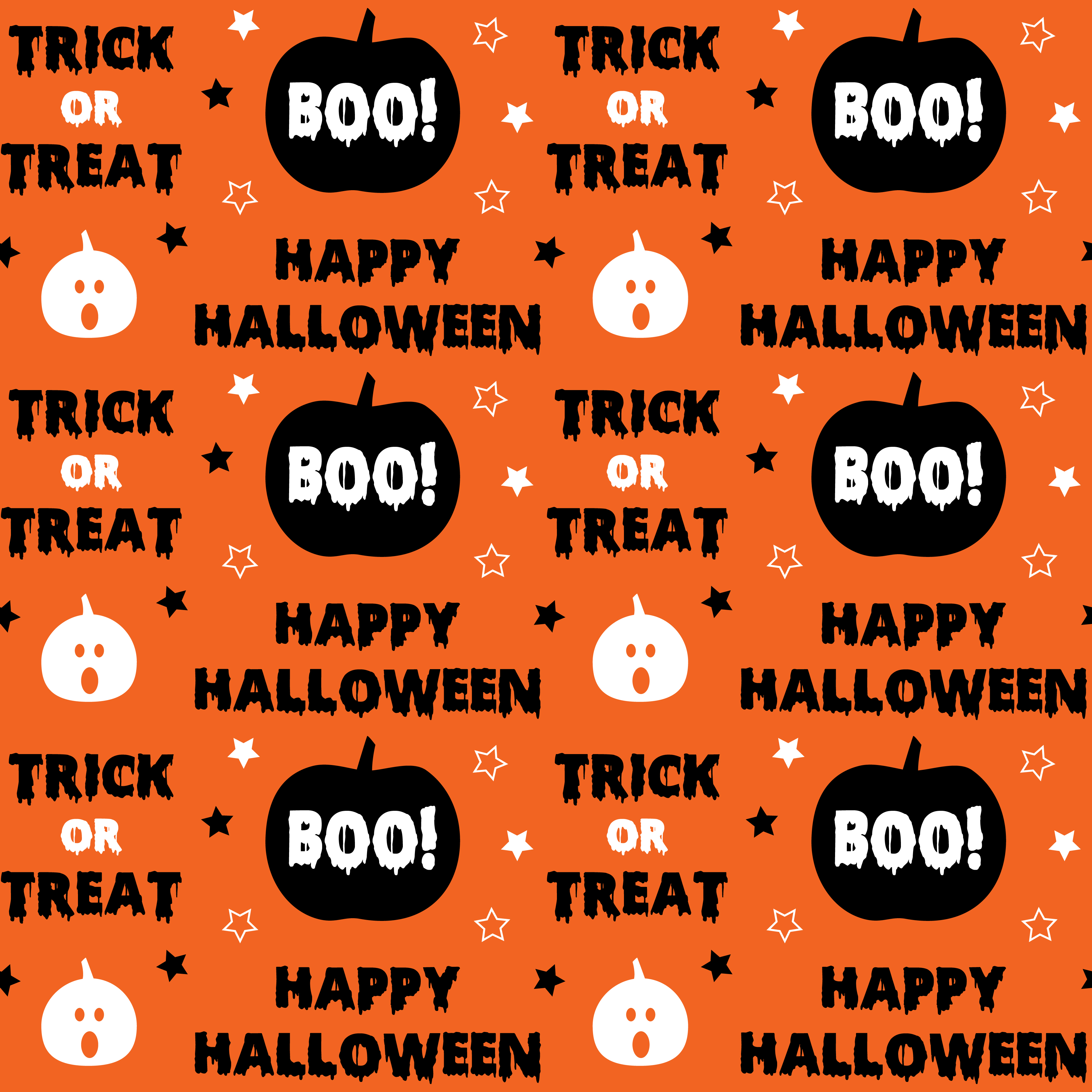 Happy Halloween Lettering With Pumpkin Seamless Pattern Download Free Vectors Clipart Graphics Vector Art