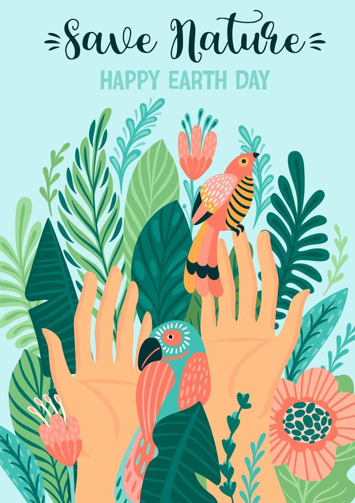 Save Nature Earth Day Poster vector