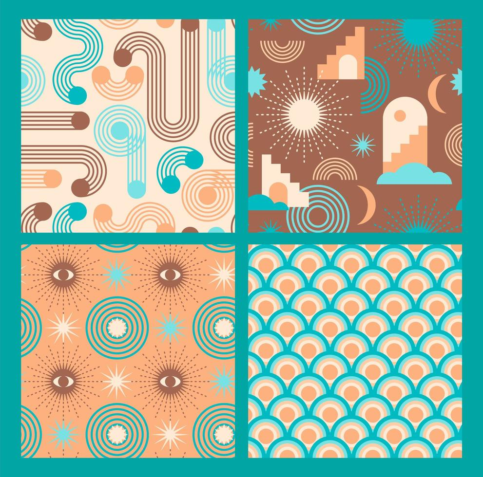 Retro graphic seamless pattern collection  vector