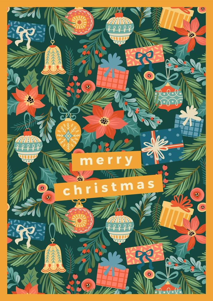 Christmas decorations greeting card template  vector