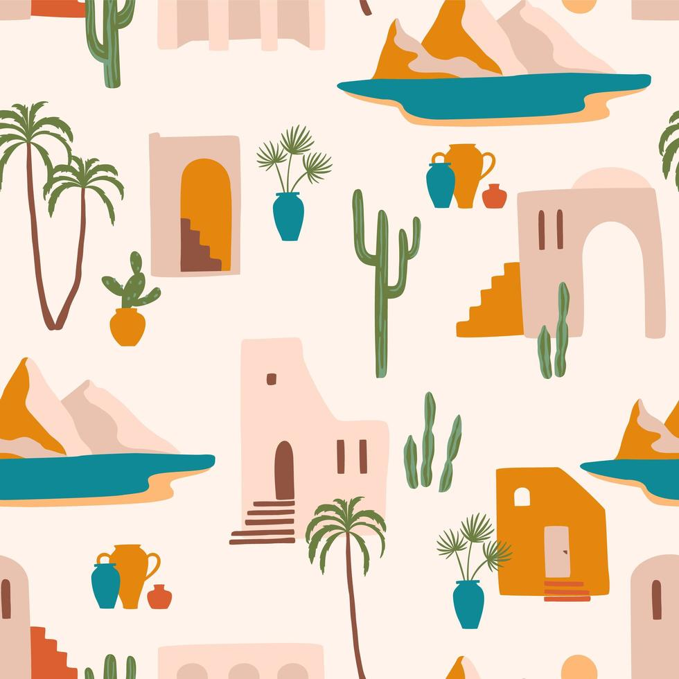 Seamless pattern with Southern and Mediterranean landscape  vector