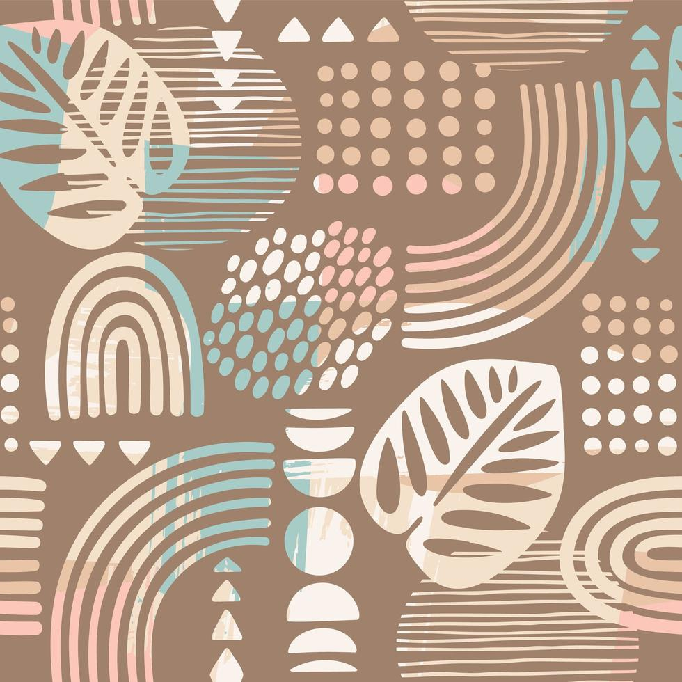 Seamless pattern with abstract leaves and geometric shapes  vector