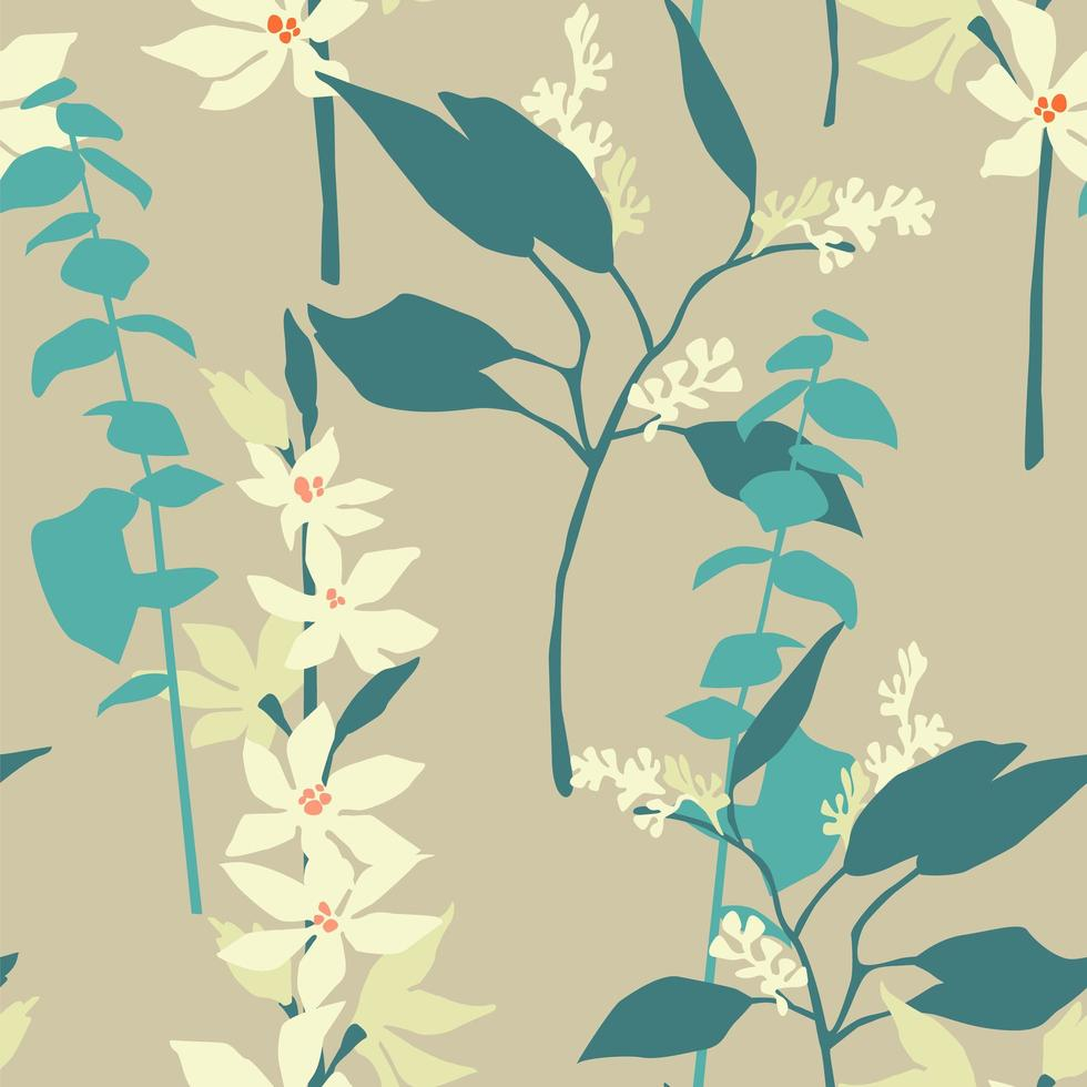 Contemporary seamless pattern with flowers and plants  vector