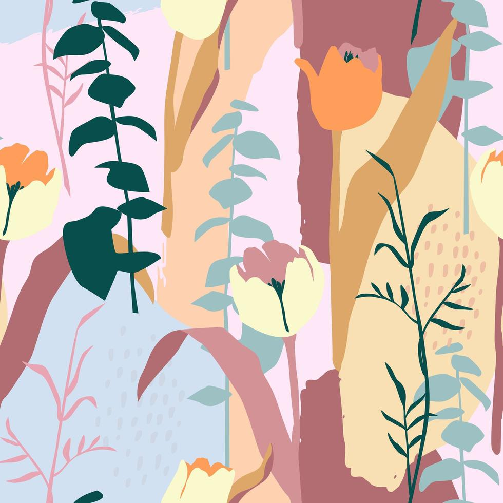 Contemporary seamless pattern with colorful foliage  vector