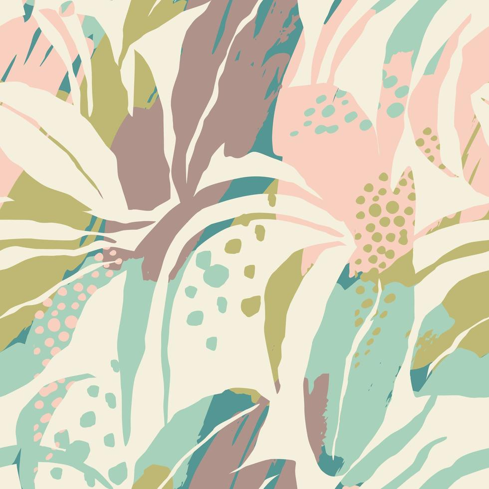 Contemporary seamless pattern with a soft-color foliage  vector