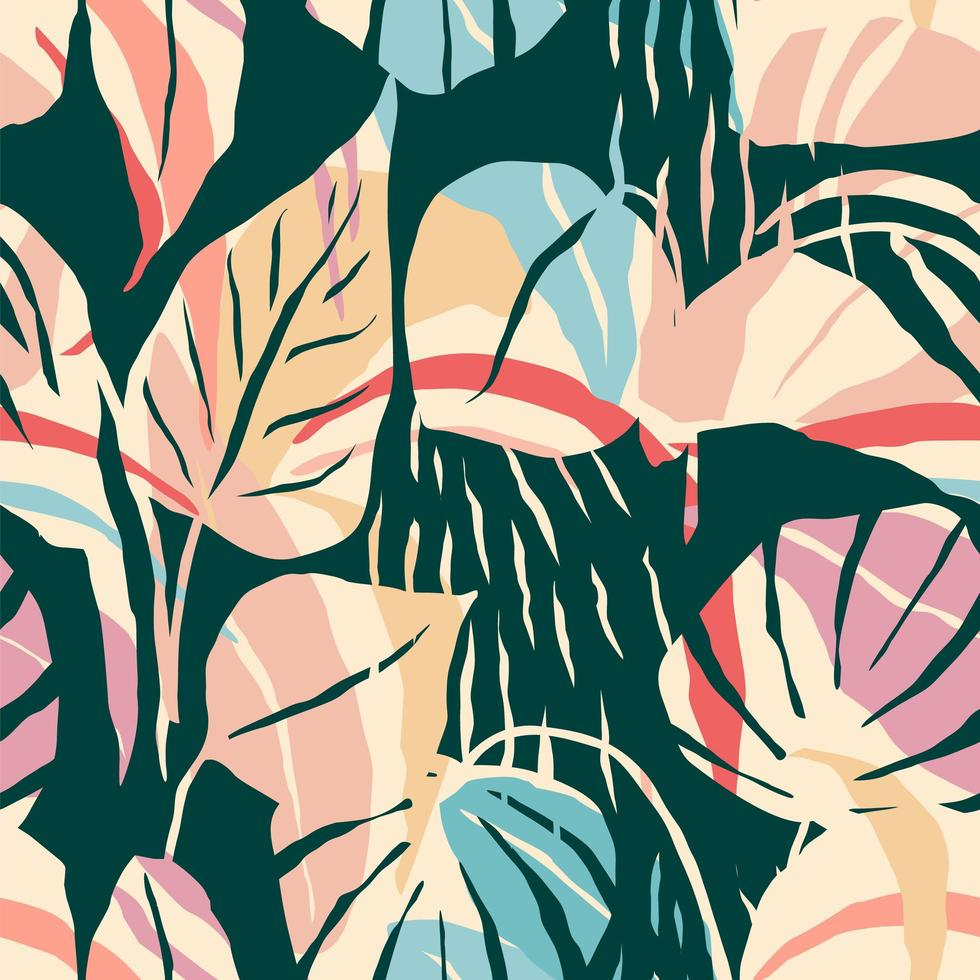 Contemporary seamless pattern with abstract foliage  vector