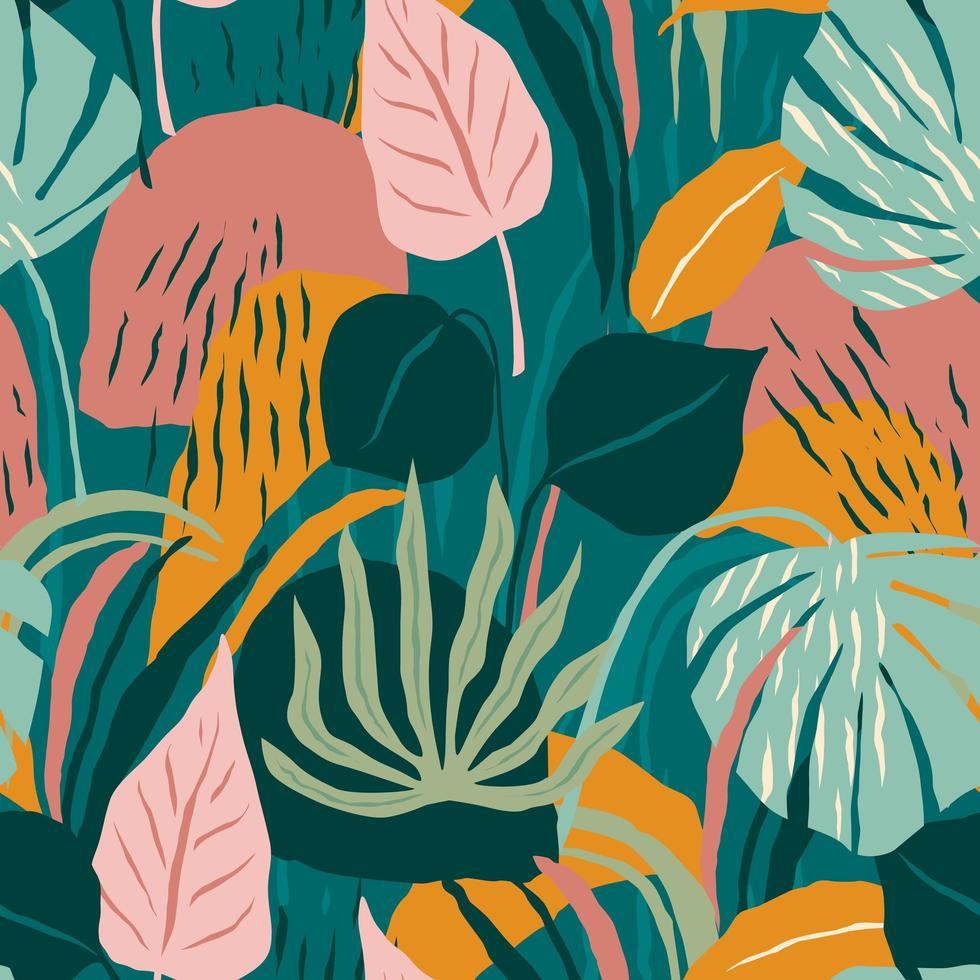 patrón sin costuras contemporáneo con follaje colorido vector