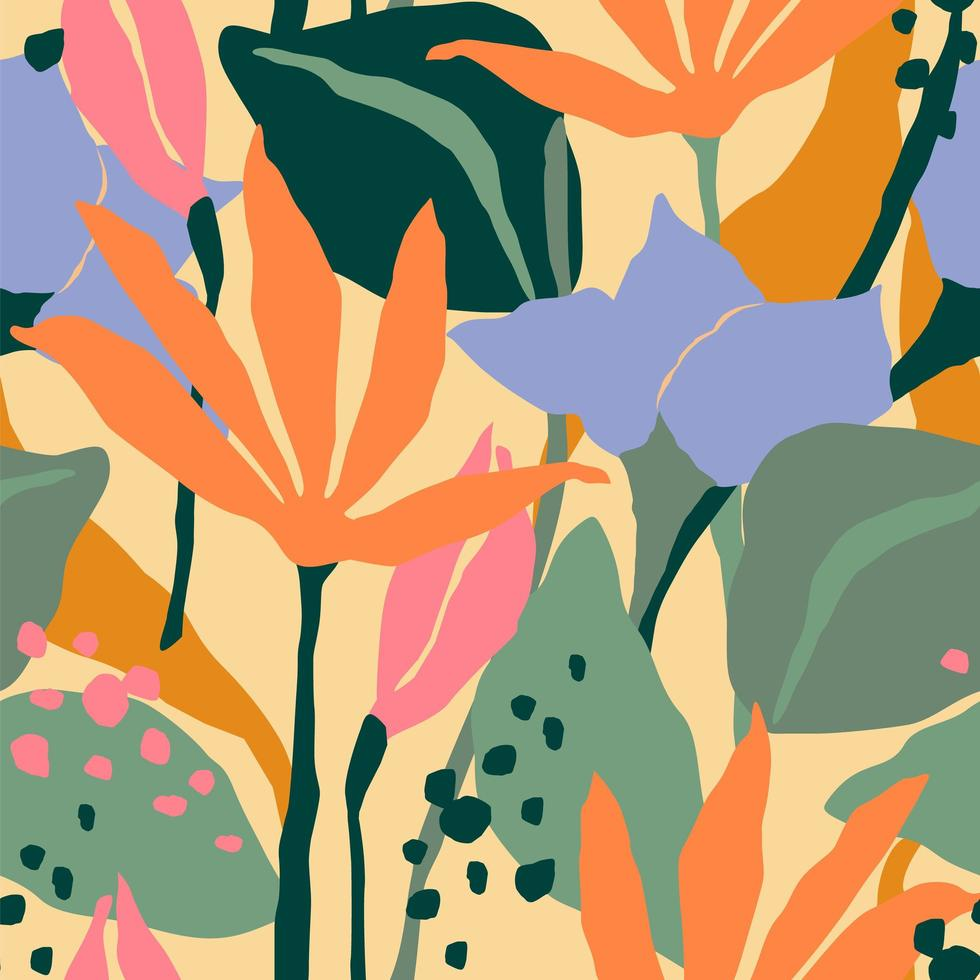 Contemporary seamless pattern with colorful flowers  vector