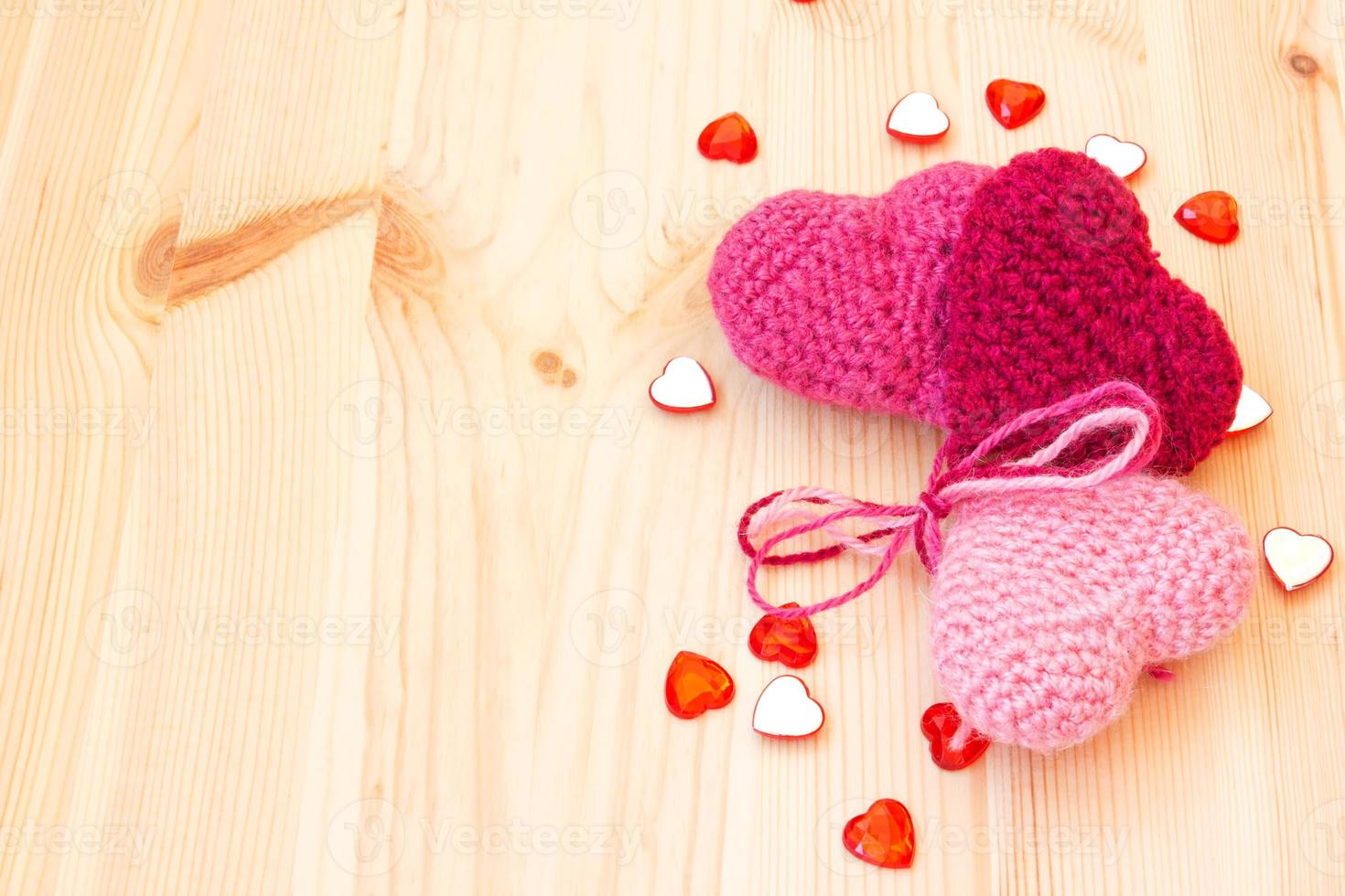 cute knitted hearts photo