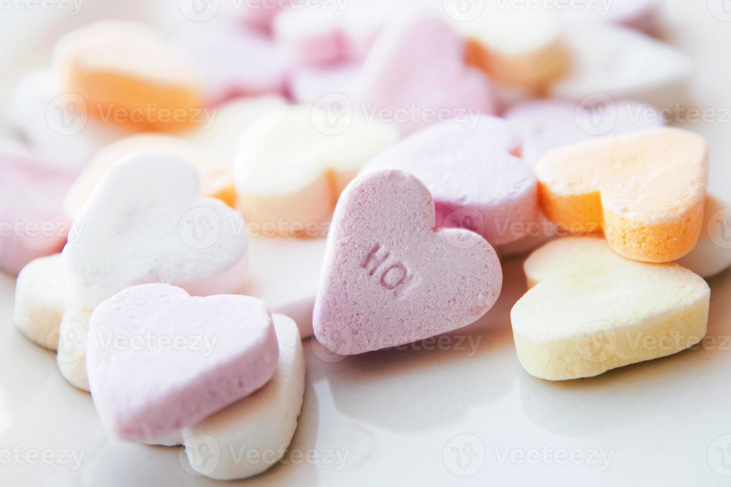 Heart shaped sugar candies photo