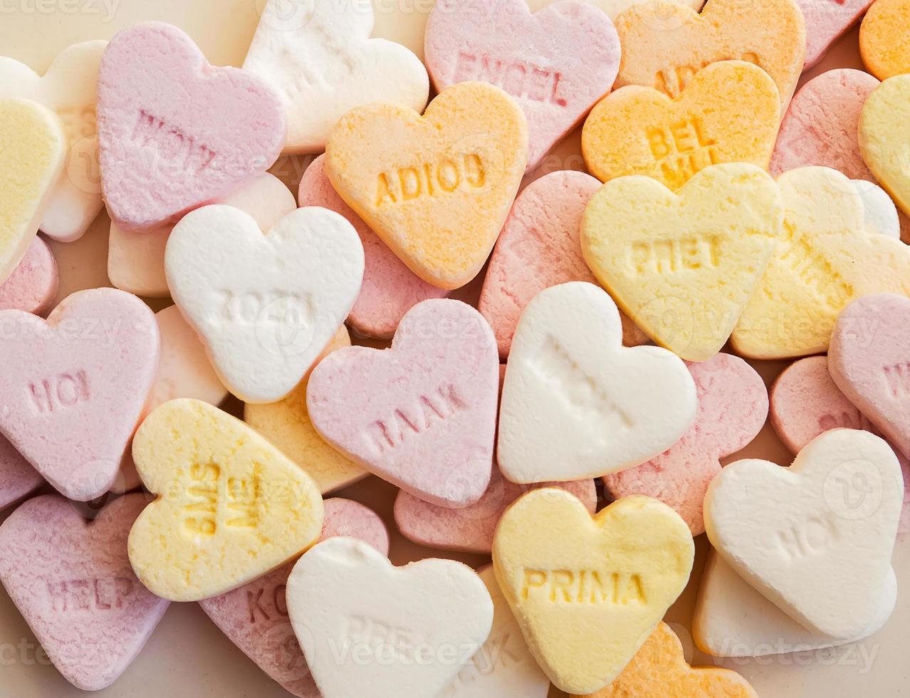 Heart shaped shugar candies photo