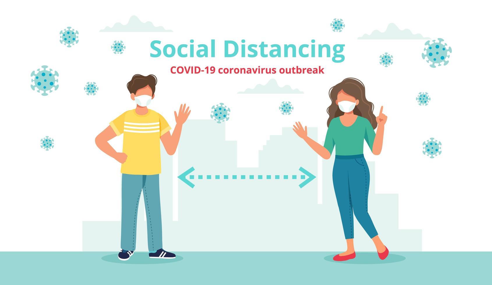 concepto de distanciamiento social con dos personas a distancia saludando vector