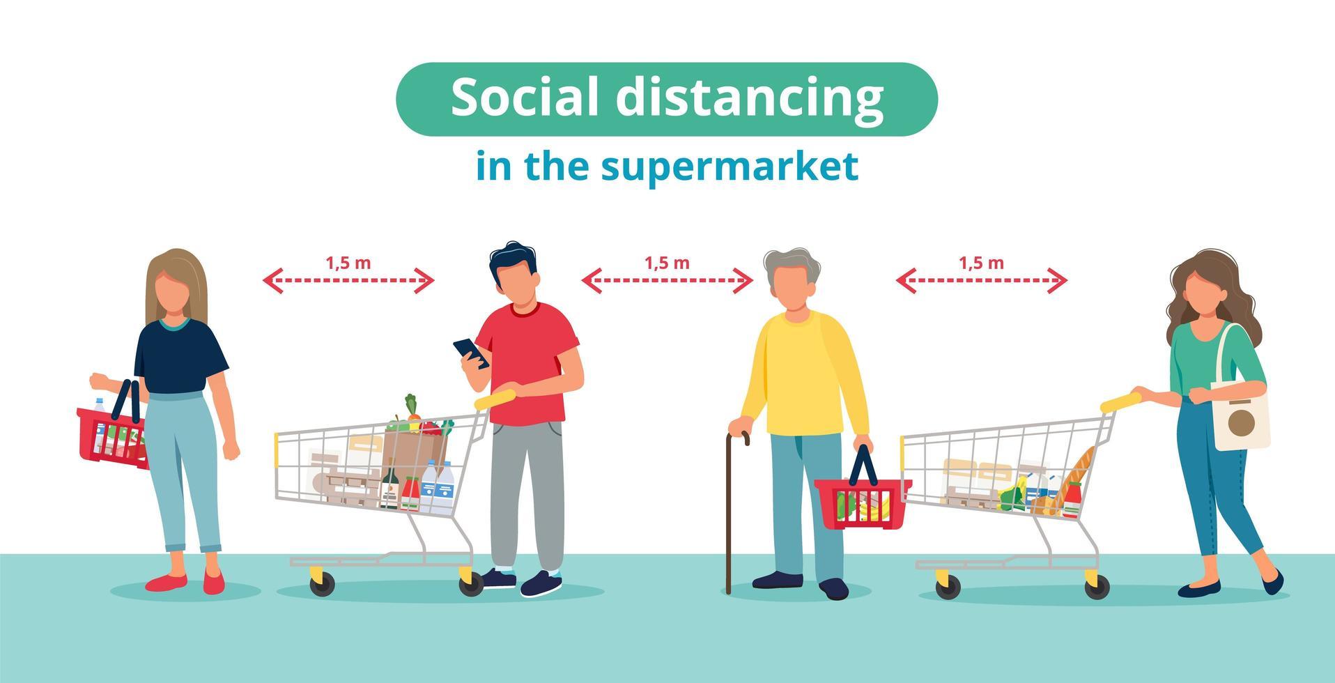 distanciamiento social en concepto de supermercado vector