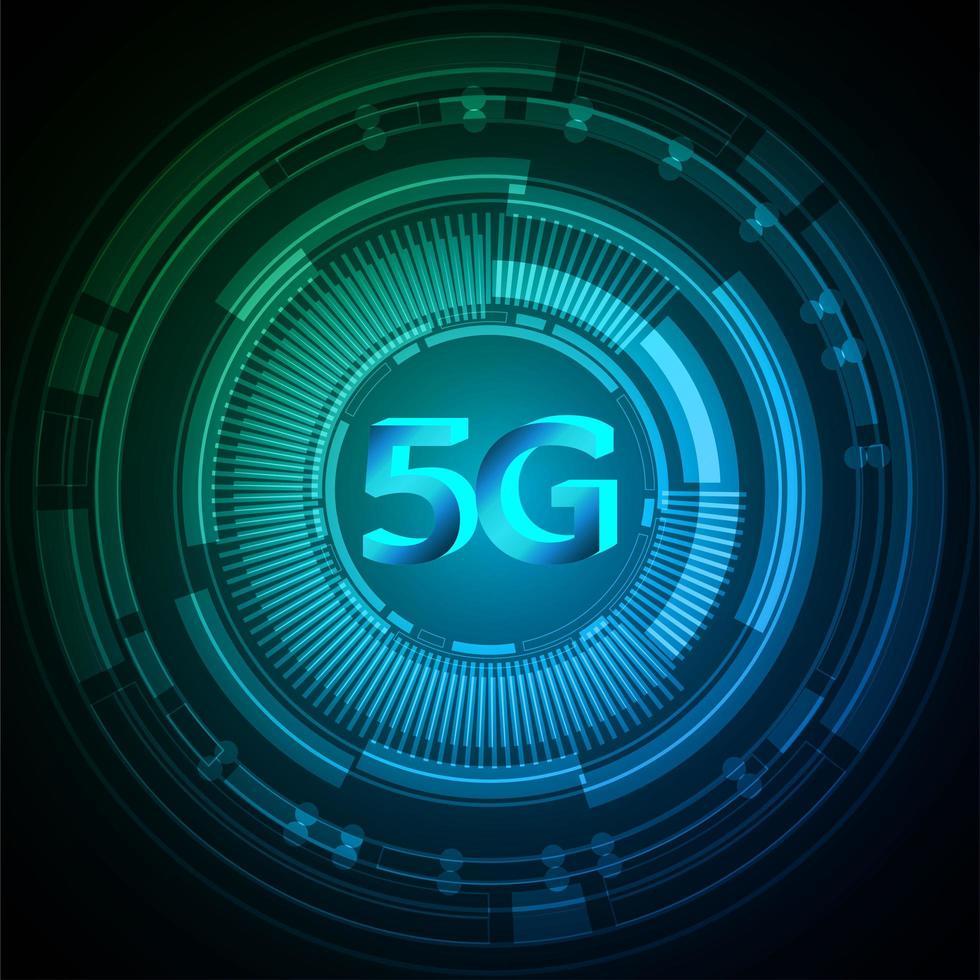 Fondo de tecnología futura del circuito cibernético azul 5g vector