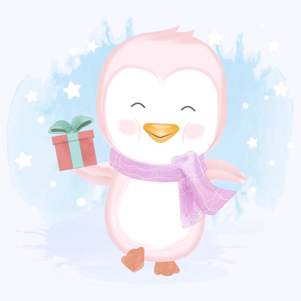 pequeno pinguim rosa carregando uma caixa de presente vetor