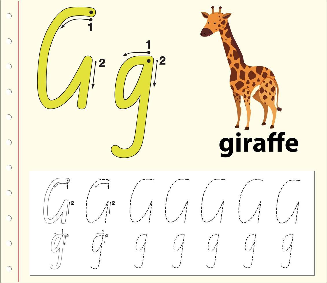 letter g tracering alfabet werkblad met giraf vector