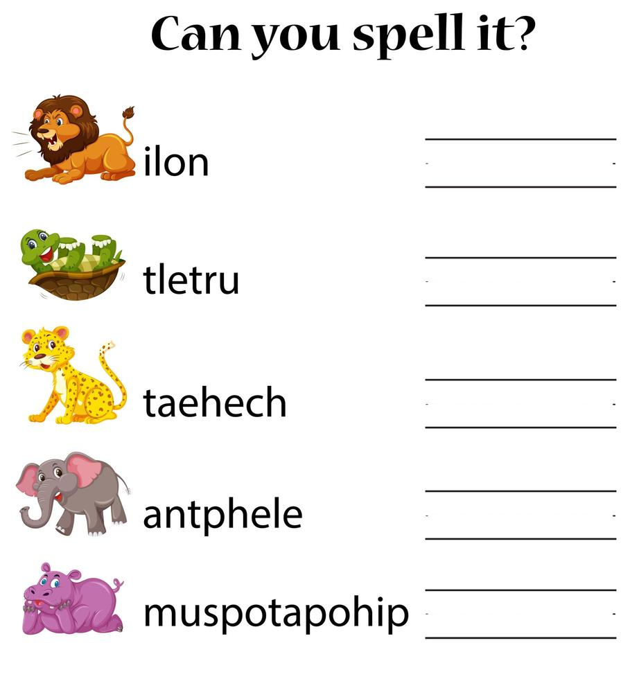 dieren woord puzzel werkblad spellen vector