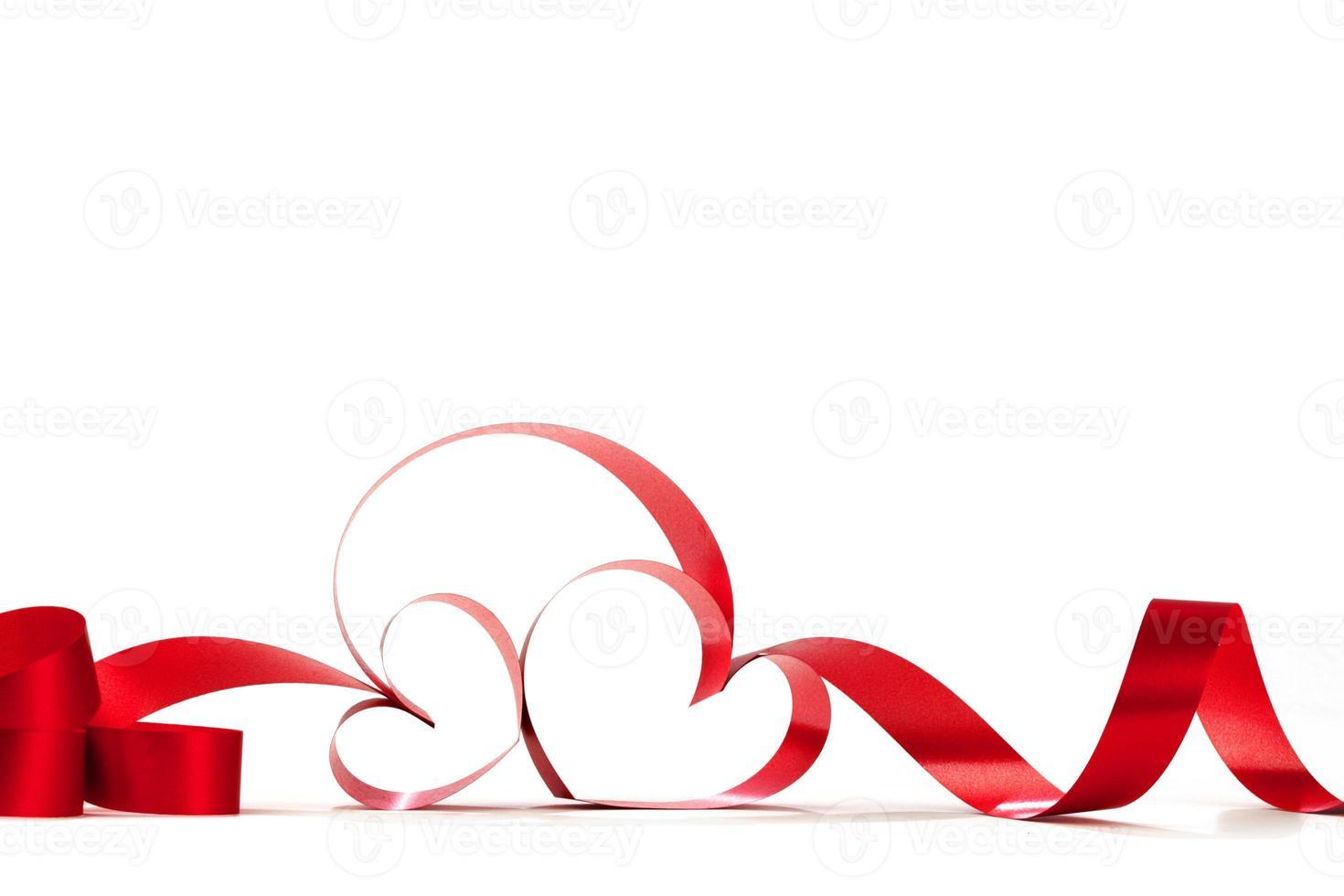 Red heart ribbon bow photo