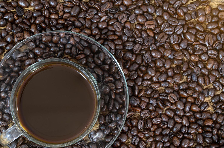 taza de café en granos de café foto