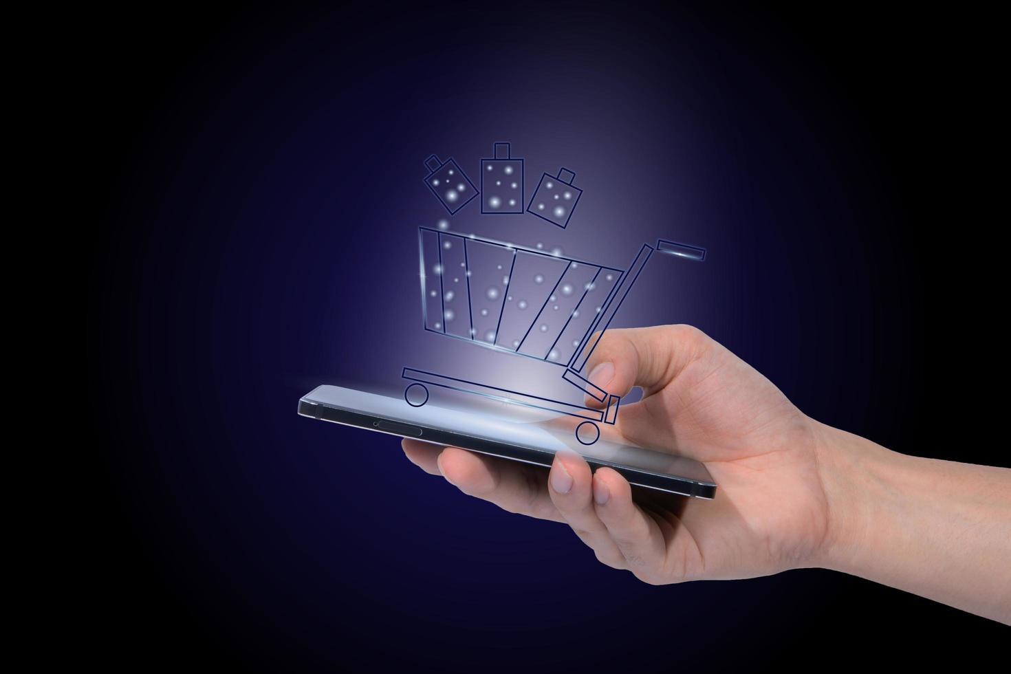 achats en ligne avec smartphone photo