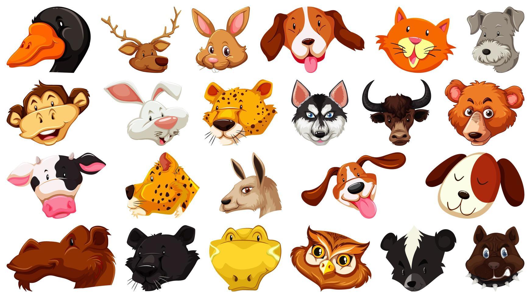 conjunto de diferentes animais fofos de desenhos animados vetor