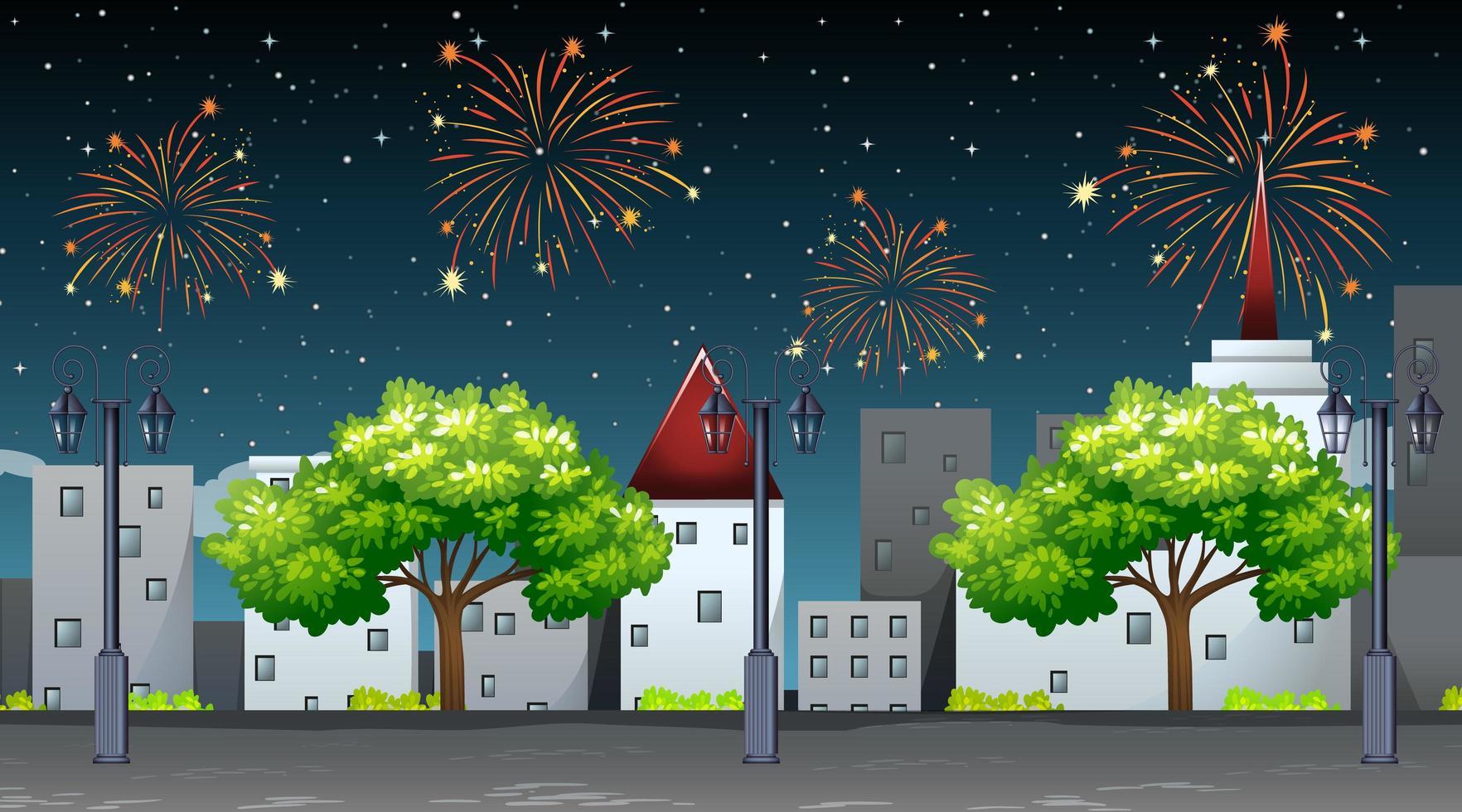 paisaje urbano con escena de celebración de fuegos artificiales vector