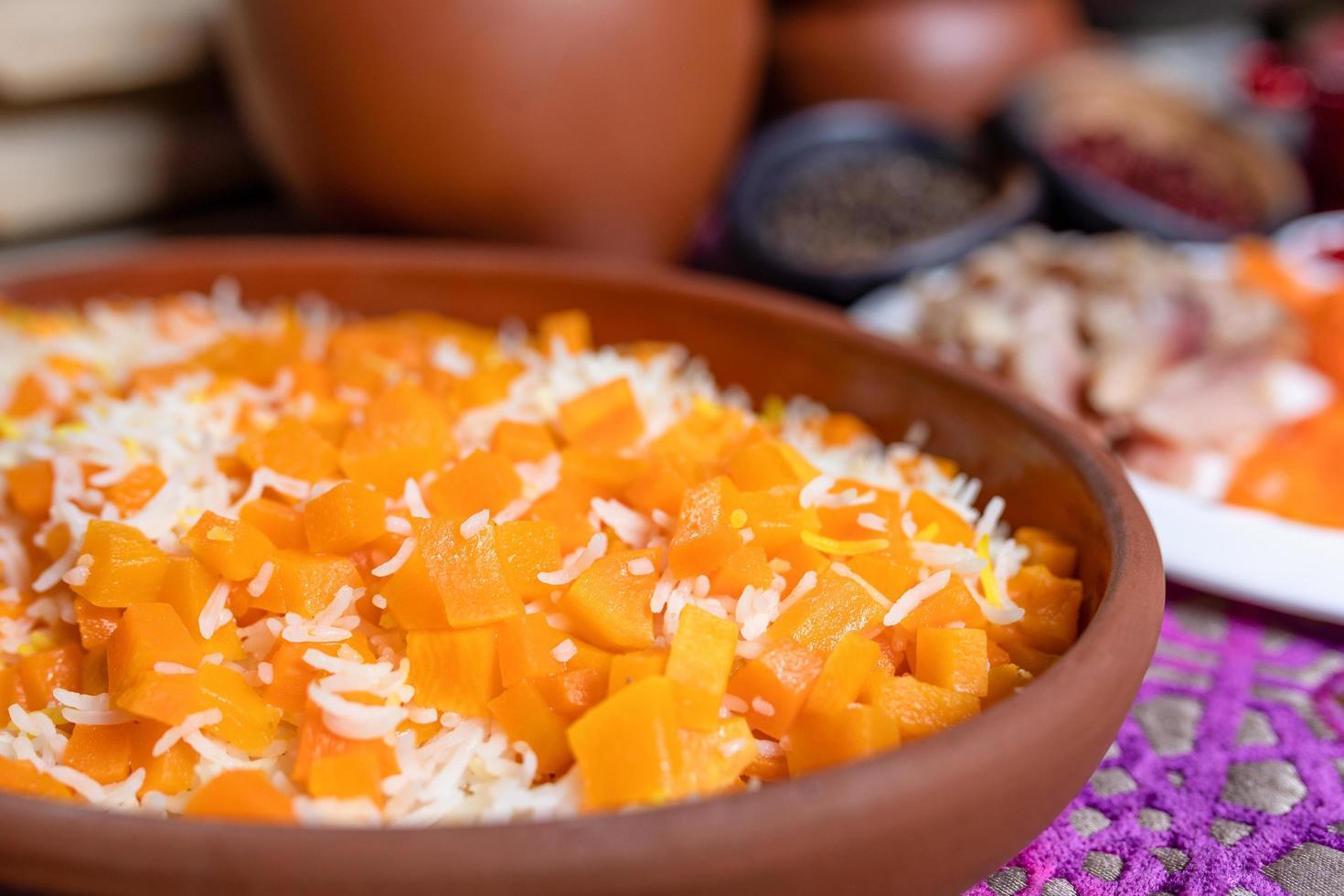 harina de pilaf de arroz con calabaza foto