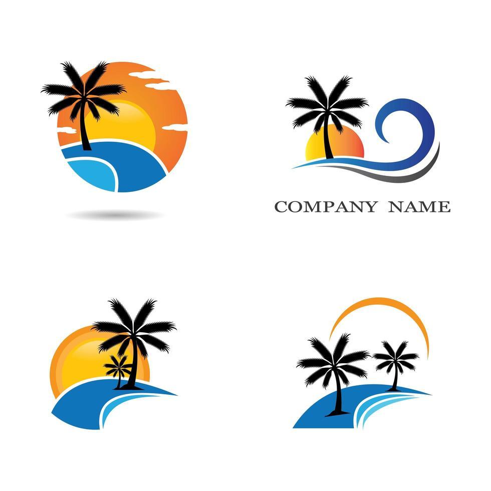 ensemble de logo de plage coucher de soleil vecteur