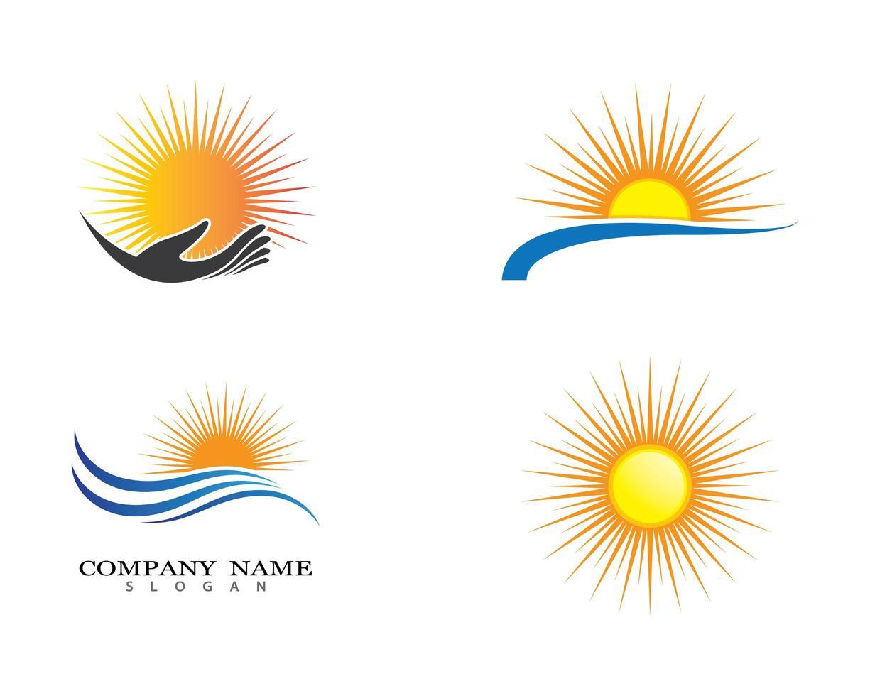 conjunto de símbolo de sol de verano vector