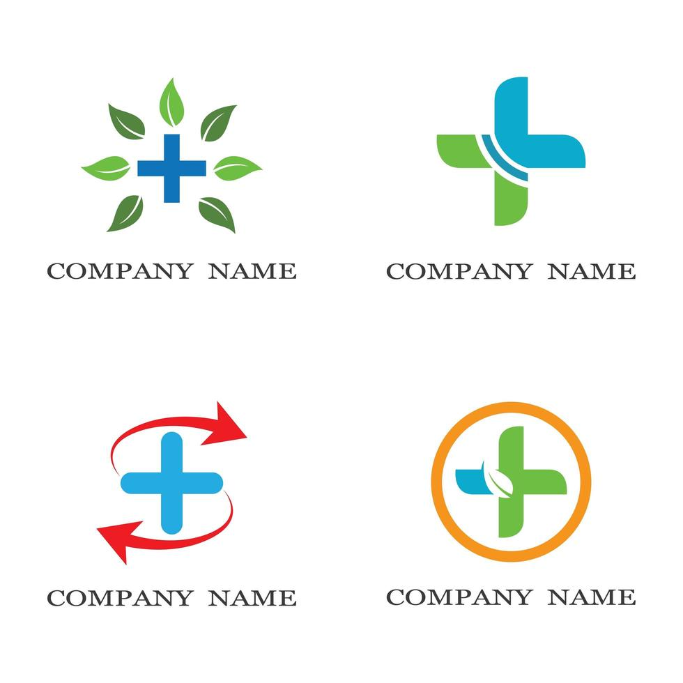 conjunto de logotipo de cuidados médicos vetor