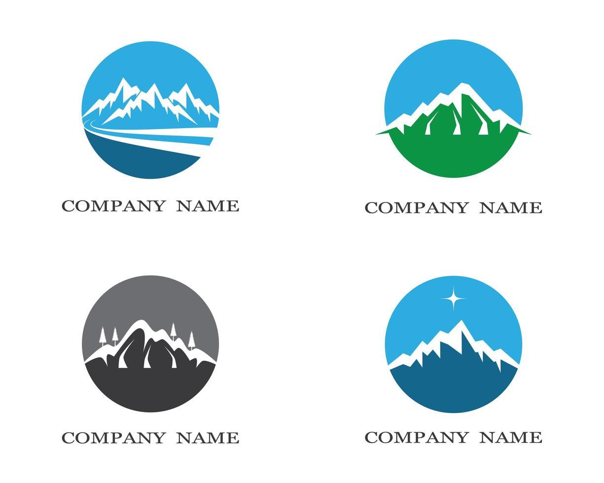 iconos circulares de montaña vector