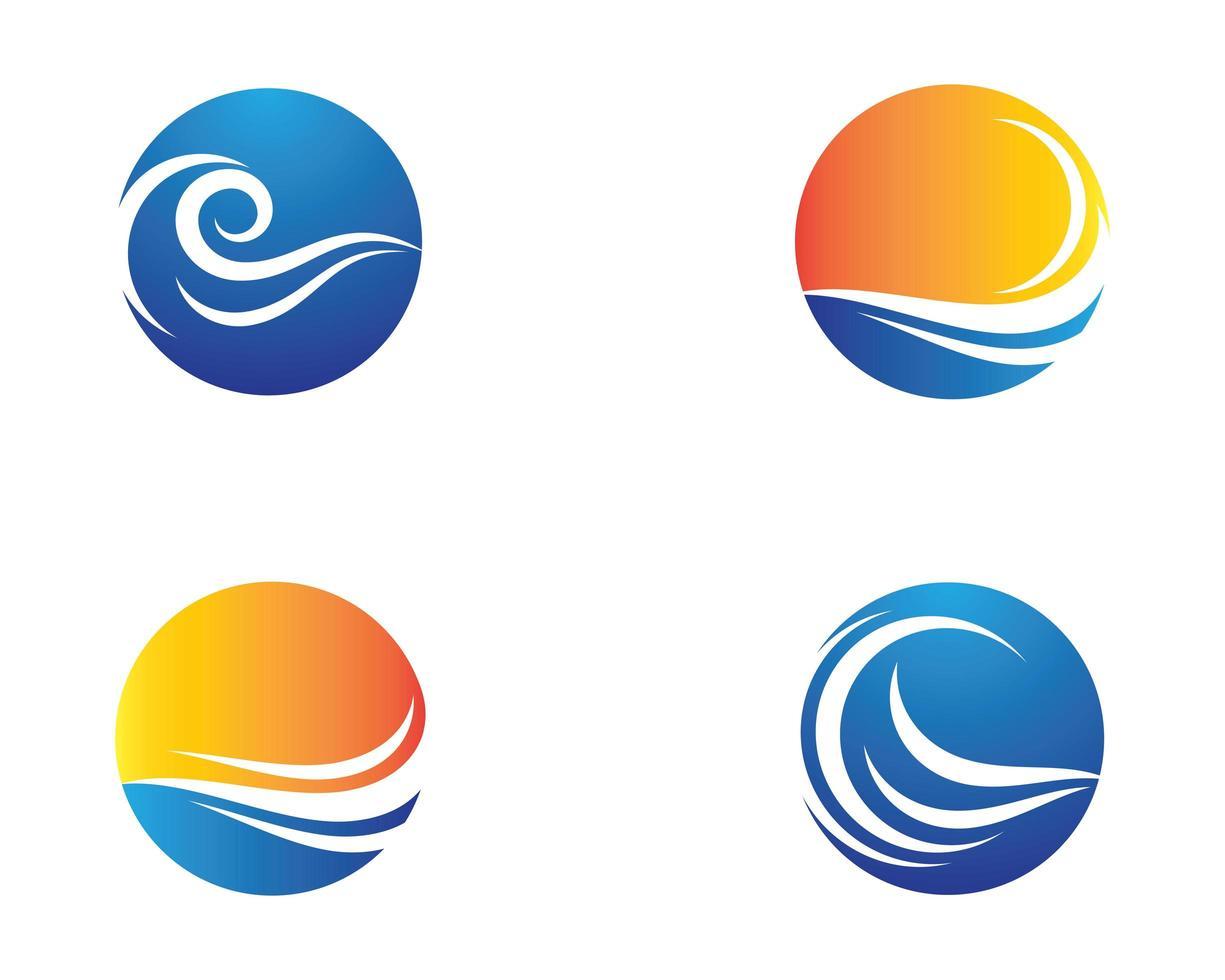 icônes de cercle symbole vague vecteur