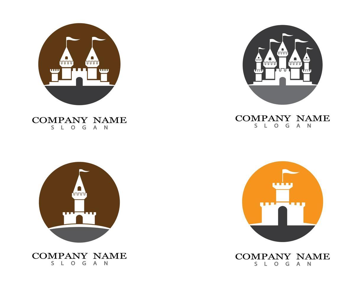 iconos de símbolo de castillo vector