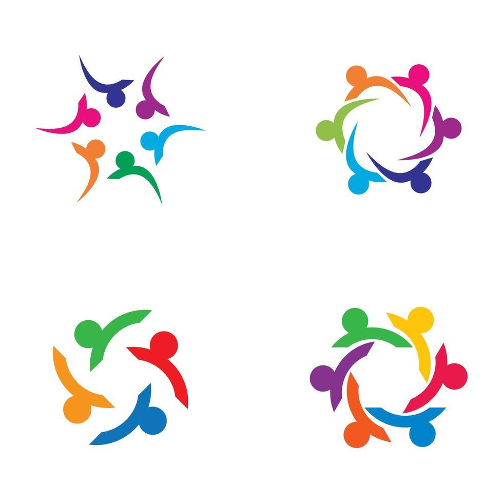 conjunto de logotipo de cuidado comunitario vector