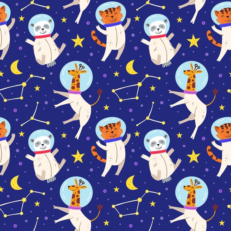 Astronaut animals seamless pattern background vector