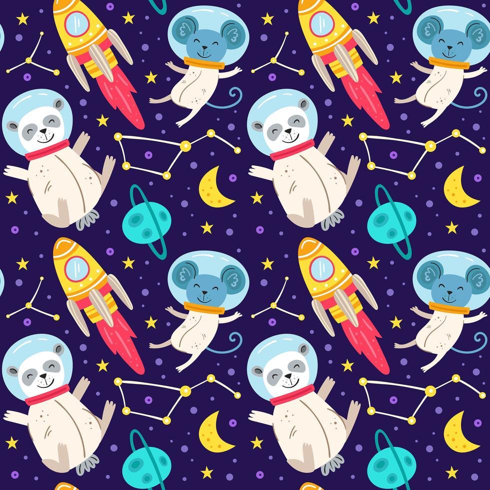 astronauta animais sem costura de fundo vetor
