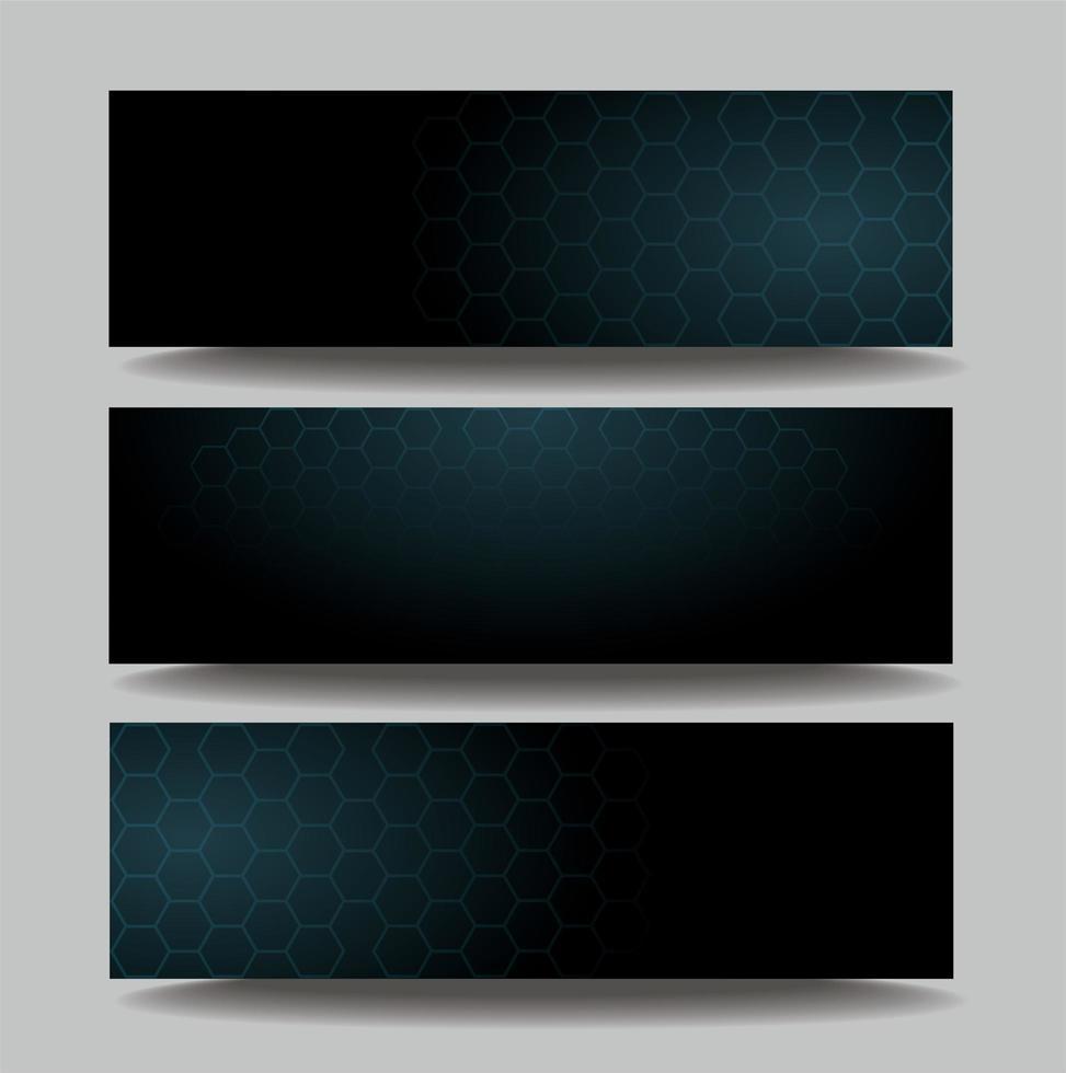 bannières de modèle hexagone sombre vecteur