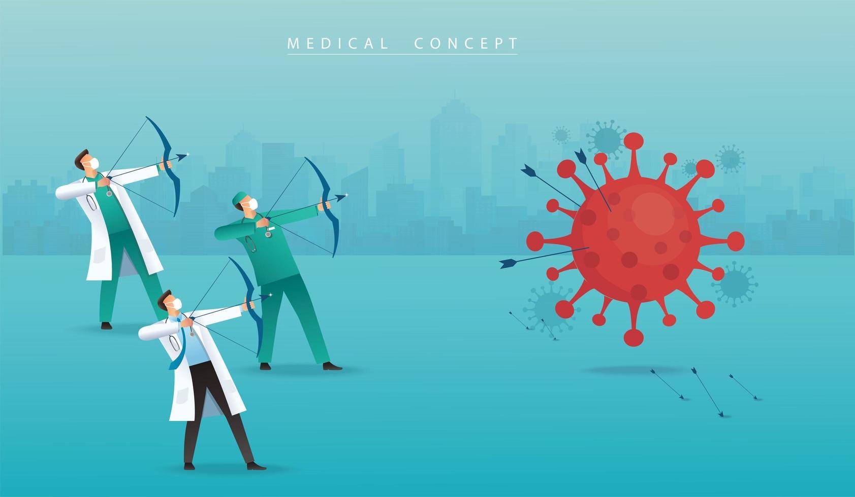médico con arco apuntando al coronavirus vector