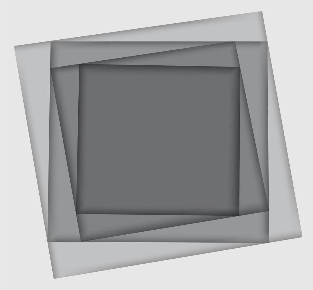 sfumature di bianco e grigio cornice quadrata a strati vettore
