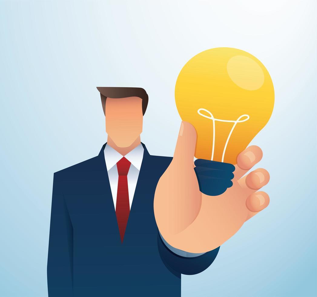 Business man holding light bulb vector