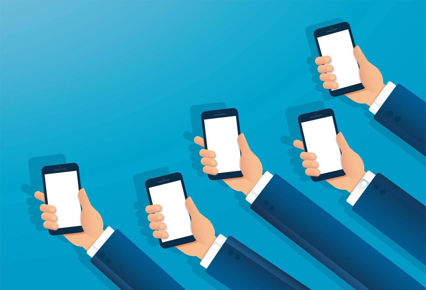 beaucoup de mains tenant des smartphones vecteur