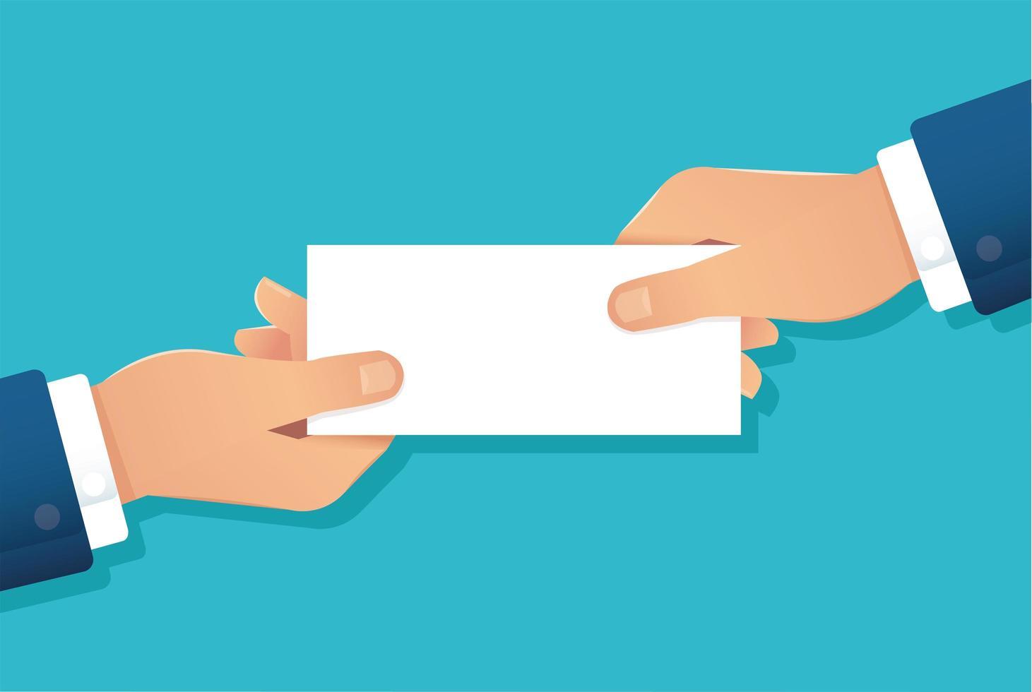 mains humaines tenant du papier blanc vecteur