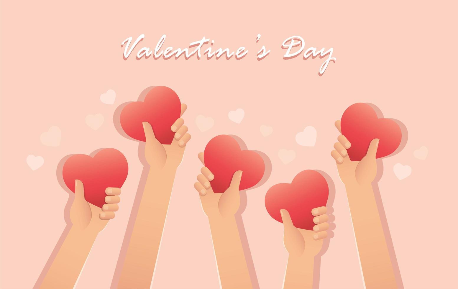 cartão do dia dos namorados com mãos segurando corações vetor